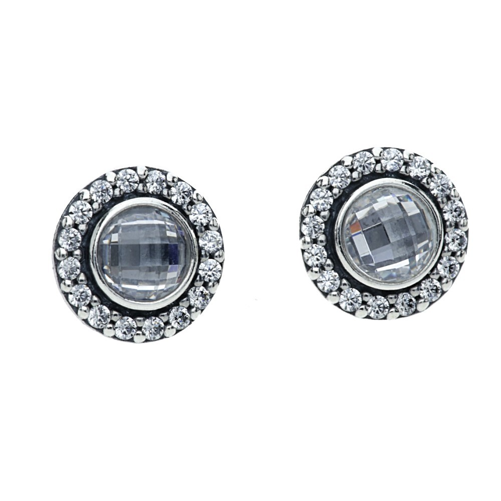 Pandora Silver CZ Round Stud Earrings 290553CZ