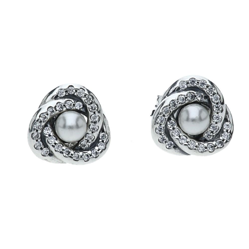 Pandora Mens Earrings: Pandora Luminous Knot Stud Earrings 290740WCP