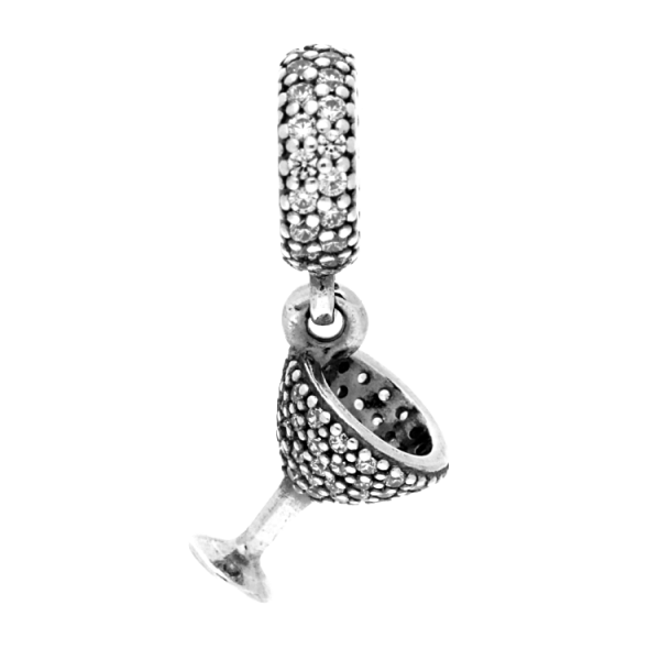 pandora silver cubic zirconia cocktail glass charm