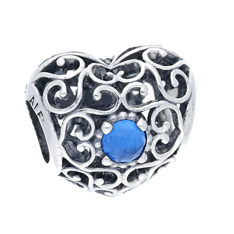 ede19d1ad PandoraSilver December Birthstone Signature Heart Charm 791784NLB. £35.00.  Click to enlarge. Drag image to spin
