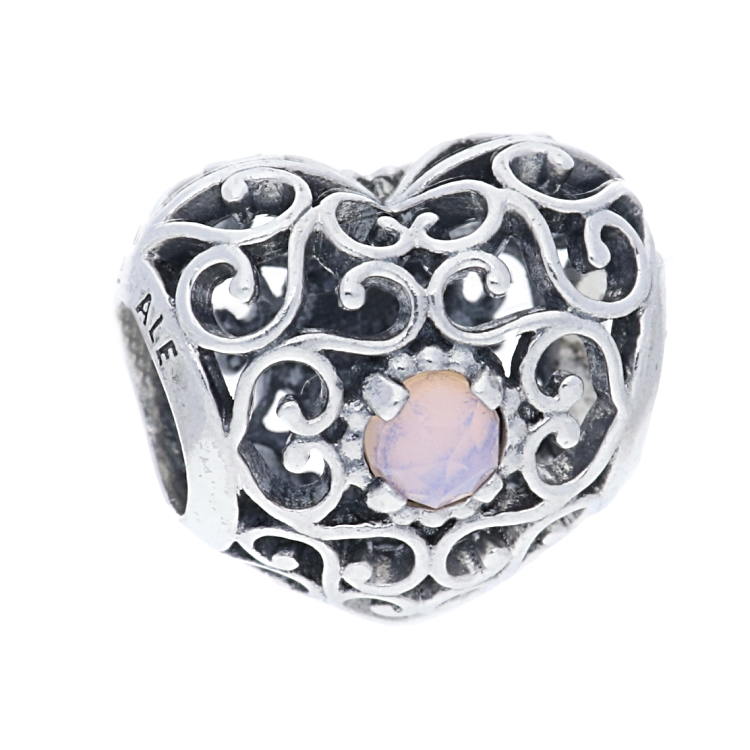 pandora silver october birthstone signature charm