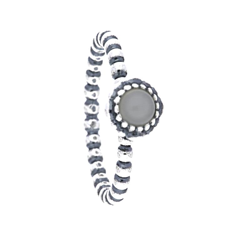 Pandora Moonstone Earrings: PANDORA Silver Beaded June Grey Moonstone Birthstone Ring