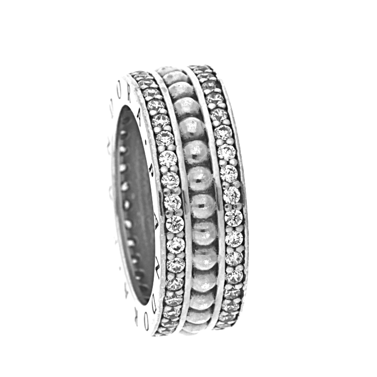 Pandora Heart Silver Ring With Clear Cubic Zirconia